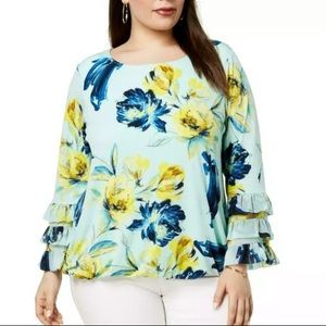 Alfani Green Tiered Nocturnal Floral Blouse Top